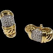 Retired David Yurman 18k yellow gold diamond earrings