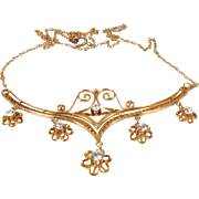 Antique, Edwardian, 14k gold and diamonds festoon necklace