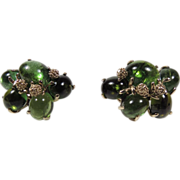 Vintage estate 14k gold genuine green Tourmaline earrings
