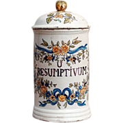 An 18th century French faience apothecary albarello, probably Sceaux, circa 1785