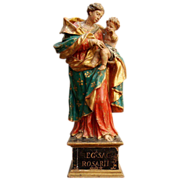 A 17th century Southern Italian Baroque carved and polychromed statue of The Madonna of the ..