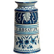An 18th century blue and white faience apothecary jar, probably Delft, circa 1730.