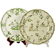 Two similar late 18th century Moustiers faience plates, probably from the factory of Jean ...