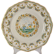 A mid-18th century Moustiers French faience polychrome plate, probably from the factory of ...