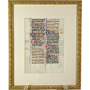 SOLD A 13th century illuminated music page from an Antiphonal, Paris, circa 1290