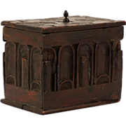A Pilgrim Century chestnut trinket box, probably New England, circa 1680.