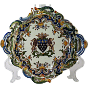 An early 20th century French faience bannete tray, Devres, possibly atelier of George Martel,