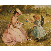Four watercolor scenes from Victorian life by children's book illustrator John Strickland ..