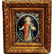 An early 17th century Limoges enamel plaque of St. Lawrence, probably from the workshop of ...