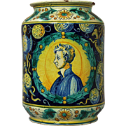 A monumental 16th century majolica Italian Renaissance albarello, associated with the workshop
