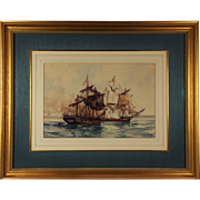 John Paul Jones 1778 North Channel Naval Duel; a 1937 watercolor by Frank Vining Smith ...