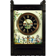A late 19th century Kate Greenaway American Aesthetic mantle clock, retailed by Hall, Nicoll &