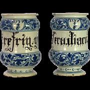 A rare pair of early 18th century North Italian majolica drug jars/albarelli, probably Savona