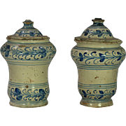 A pair of mid-18th century French faience apothecary jars, probably Lille or Rouen circa ...