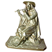 Original Period French patinated bronze sculpture musician playing flute , circa 1880