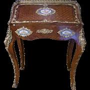 Original Rare Period LXV Sevres gilded figural Lady's Directoire Parquetry writing desk ...