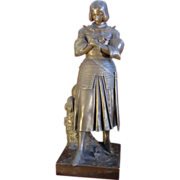 """SOLD Antique French patinated bronze statue figurine """"Joan of Arc"""" signed Marie d' O"""