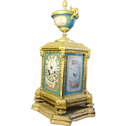 Original French gilded bronze figural and porcelain hand painted mantel clock, circa 1880 , ..