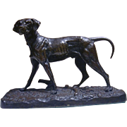 Original Period patinated bronze statue figurine dog signed P.G Mene, circa 1880