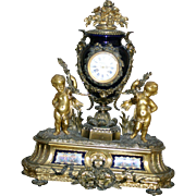 Stunning  Palatial French Porcelain gilded figural bronze mantel clock, custom made for Bailey