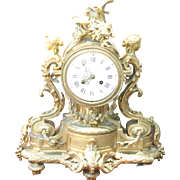 French antique gilded bronze figural mantle clock, signed Marquis, circa 1880 superb