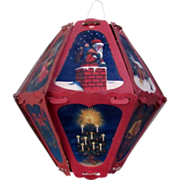 REDUCED SPECIAL! Vintage 1920's Christmas 12-Panel Lantern, Germany, 8 in. Candle Decoration