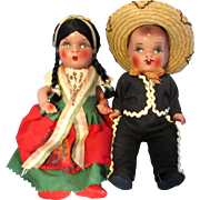 SALE Mexican Souvenir Composition Dolls - Boy and Girl -1950's