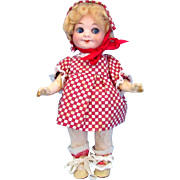 SALE AM 323 Googly Girl Doll in Red Checked Dress