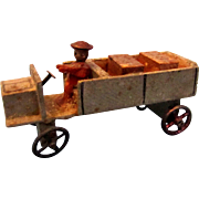 REDUCED Antique Miniature Wooden Truck with Driver