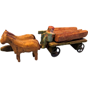 REDUCED Antique Miniature Wooden Lumber Wagon with Horses and Driver