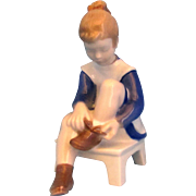 SALE Bing & Grondahl B&G Vintage 2373 Girl Putting on Shoes Blue & White Figurine