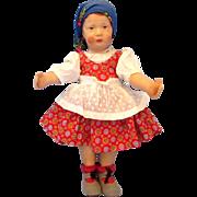 "Pouty 12"" Antique Oilcloth German Art Doll by Gebruder Bing c1913"