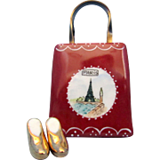 SALE Limoges Peint Main Trinket Box - Paris Bag with Gold Shoes