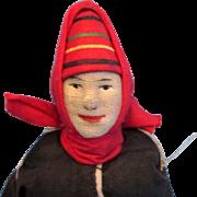 "Russian Soviet Union Stockinette Mordwa Woman Doll 1930's 7"""