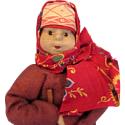 """SALE 6.5"""" NM 1930s Russia Russian Girl on the Road Soviet Union Stockinette Cloth ..."""