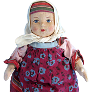 """10"""" Stockinette Russian Peasant Girl Made in Soviet Union"""