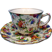 Royal Winton Evesham Chintz Cups and Saucers - Vintage Bone China