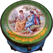 SALE Antique Powder Box with Mirror - Courting Couple