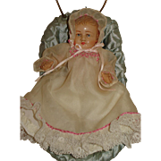 Early French Celluloid Baby Doll W/ Stroller