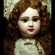 SALE PENDING Antique Jumeau Bebe 12 Beautiful - Deep Blue Eyes- Gorgeous Mohair Wig-Original .