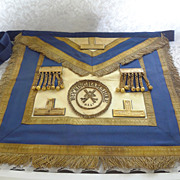 SOLD Buckinghamshire England MASONIC APRON - Oxford Blue Leather - Gold BullionTrim