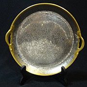 """REDUCED Pickard Platinum Daisy & Rose Flower Pattern on Yellow Gold - 8"""" Handled Plate"""