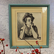 REDUCED Gibson Girl - Pen & Ink Print - Framed & Matted - Colonial Blue Frame