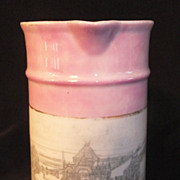REDUCED Vintage German Creamer / Small Pitcher PIER SKEGNESS - Pink  Luster