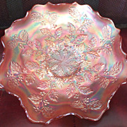 "REDUCED Vintage 'HOLLY"" Fenton Carnival Marigold / Amethyst Bowl - 9"" x 2 3/8"""