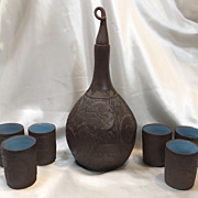 """REDUCED Signed & Dated Six Nations Dee Martin Pottery Decanter & Cups """"Clans of The Iroqu"""