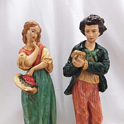 """REDUCED Pair Vintage BORGHESE Figures - Peasant Boy & Girl - 10"""" Tall"""