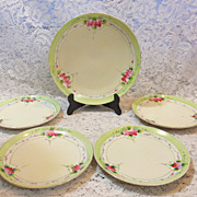 REDUCED Wild Roses - Nippon Hand Painted 5 Piece Set Desert Plates