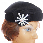 REDUCED Genuine Imported Fur Hat by CHEZ ORIGINAL - Heart and Rhinestone Accents