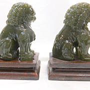 REDUCED Vintage Pair of Jade Green Peking Glass Foo Dogs or Lions with Wood Stands